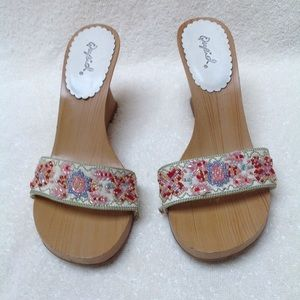 Qupid Wooden Heel Beaded Sandals 7
